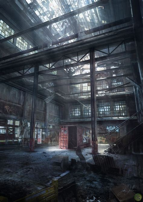 warehouse interior abandoned warehouse concept art enviornment art