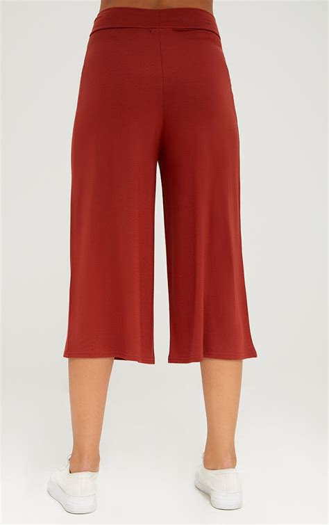 Basic Cullotes rust basic culottes trousers prettylittlething
