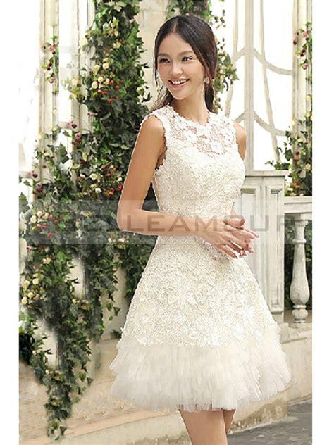 Robe Mariage Civile Simple - robe de mariage civile courte dentelle tulle ivoire col rond