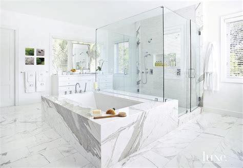 all marble bathroom statuary marble clad tub transitional bathroom