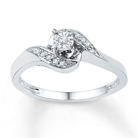 jared promise ring 1 10 ct tw cut sterling