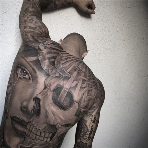 tattoo top back skull portrait mens full back piece best tattoo ideas