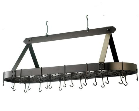 Rubbed Bronze Pot Rack Oval Bronze Pot Rack With Grid And 24 Hooks