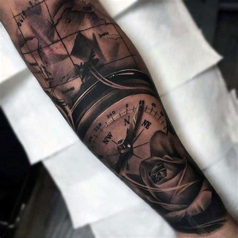 quarter sleeve compass tattoo 75 nice tattoos for men masculine ink design ideas