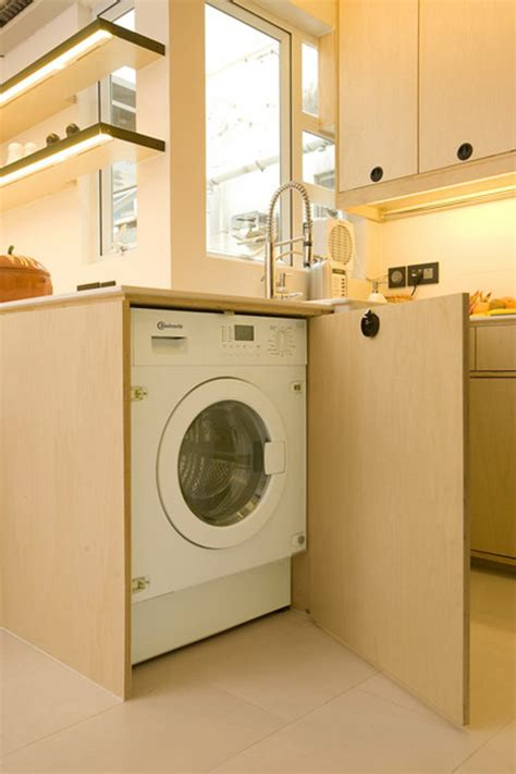 washing machine in kitchen design ingenious design solutions in a cozy 39 square meter