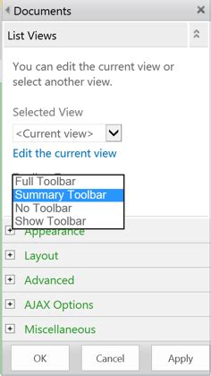 view web the sharepoint 2013 list view web part toolbar
