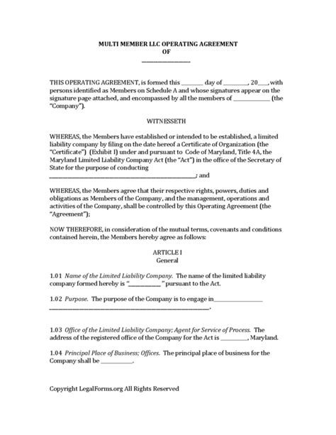 llc purchase agreement template maryland multi member llc operating agreement legalforms org