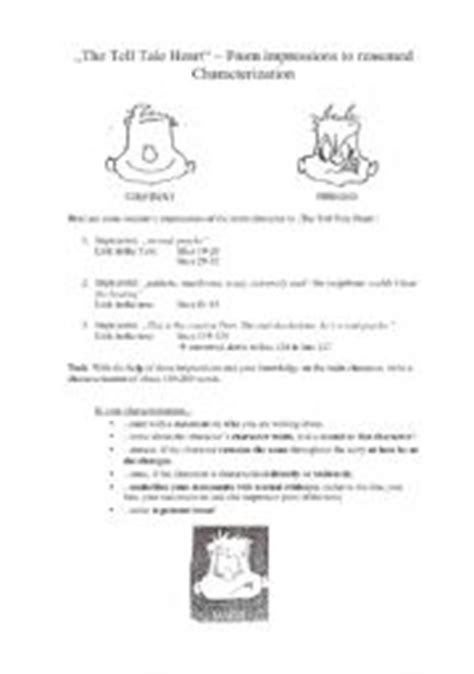 Tell Tale Worksheet by Worksheets The Tell Tale Characterization Guide For The Character