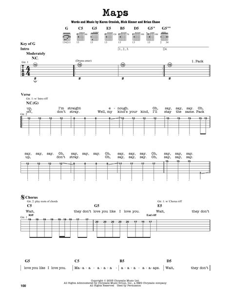 maps  yeah yeah yeahs guitar lead sheet guitar