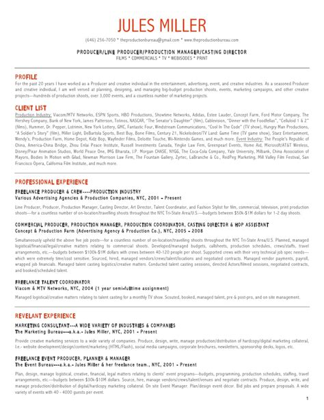 Production Sle Resume by Production Resumes 28 Images Resume Sle Production Manager Augustais Rr4 Best Template