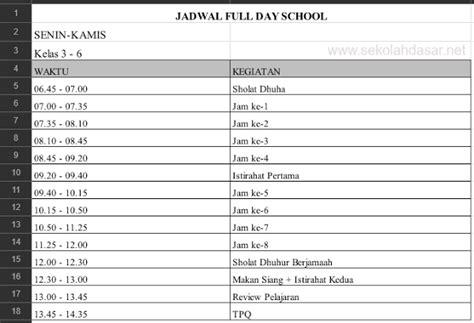 contoh jadwal day school untuk jenjang sd informasi