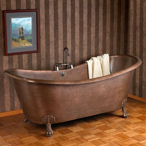 copper clawfoot bathtub 66 quot isabella hammered copper double slipper clawfoot tub