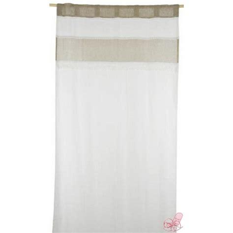 tenda di lino tenda in lino 100 con striscia sabbia e pizzo