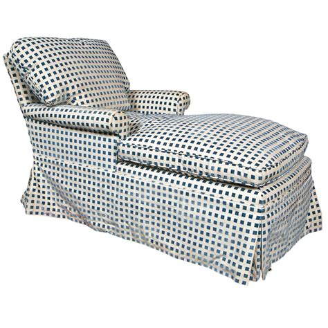 blue pattern chaise a hollywood regency blue and white checkered chaise longue