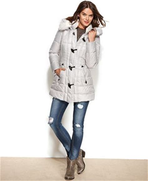 laundry design coat laundry by design faux fur trim hooded toggle puffer coat