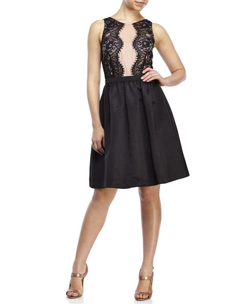 Ivanka Black Dress ivanka lace illusion cocktail dress in black lyst