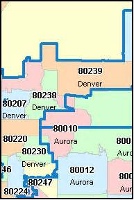 Denver Zip Codes Map by Denver County Colorado Digital Zip Code Map
