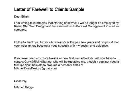 farewell letter to clients writing professional letters