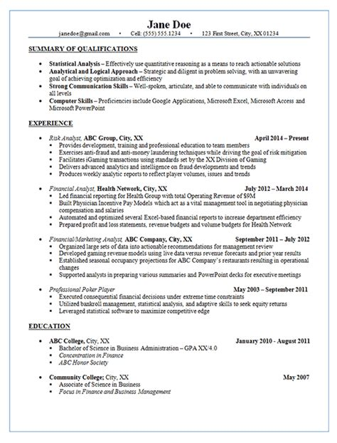 risk analyst resume exle financial marketing analysis