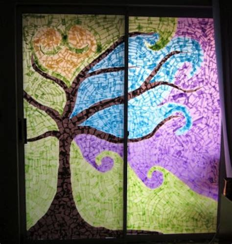 Paper Stained Glass Window Craft - window mosaic family crafts