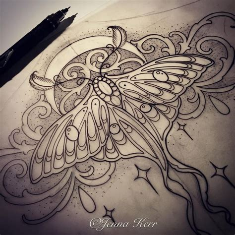 luna tattoo lunamoth moth underbust sketches