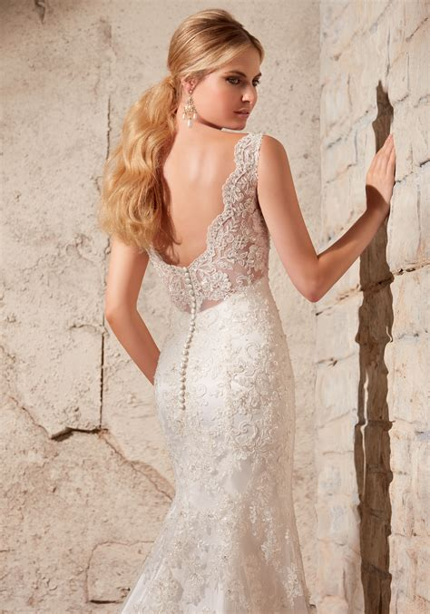 Alencon Lace On Net With Crystal Beading Morilee Bridal
