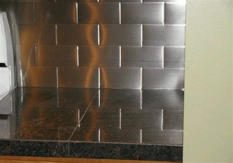 stainless subway tile backsplash kitchen