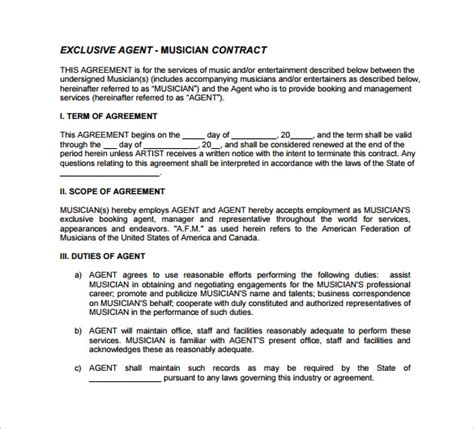 musicians contract template 10 contract templates to for free sle