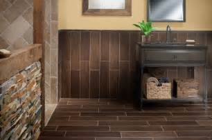Exotica walnut wood porcelain tile contemporary bathroom by