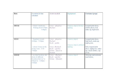 Media Shooting Schedule media shooting schedule 1