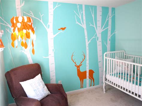 baby room wall murals real room aqua woodsy boy s nursery