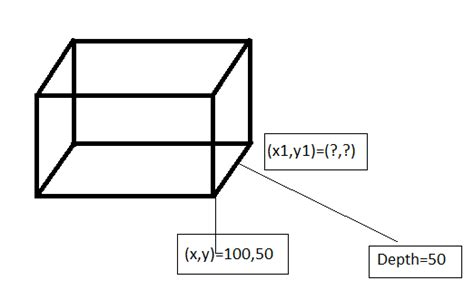 How To Make 3d Rectangle Out Of Paper - javascript how to calculate depth coordinate of the 3d