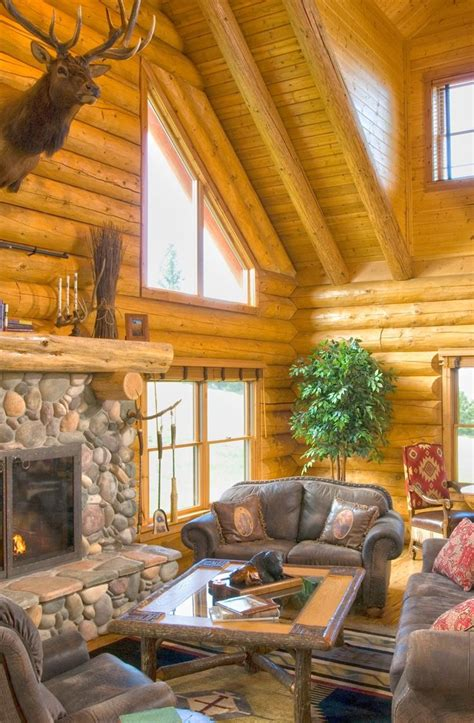 log cabin fireplace cabins pinterest