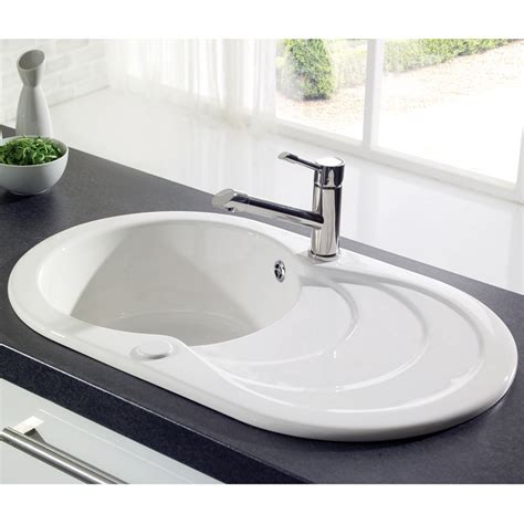 ceramic sinks kitchen astracast cascade 1 0 bowl gloss white ceramic kitchen