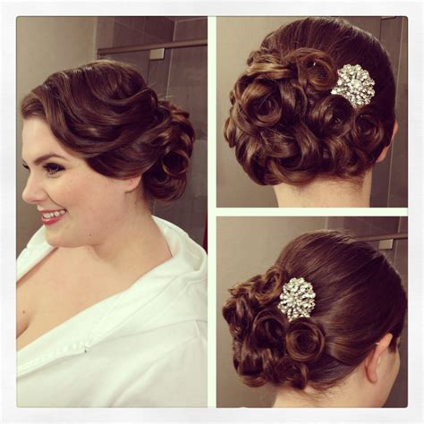 Pin Curls Updo Hairstyles by Vintage Side Updo Vintage Hairstyle Pin Curls Bridal