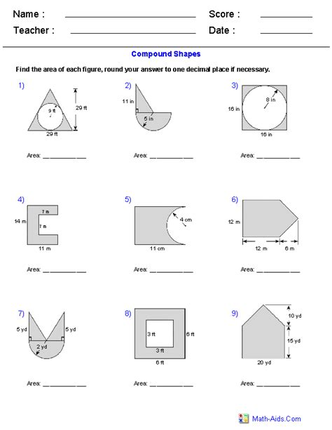 Finding Area Worksheets 7th Grade