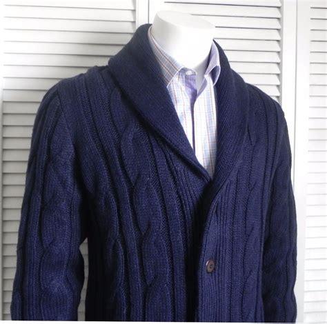 mens cable knit shawl collar cardigan new mens size 2xl alpaca navy blue shawl collar knit cable
