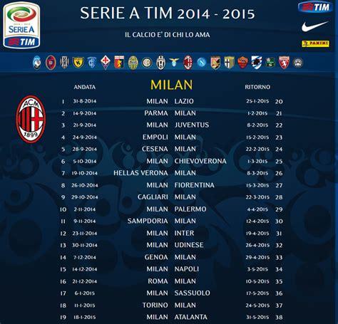 Calendario Milan Milan S 2014 2015 Serie A Calendar Rossoneri Ac