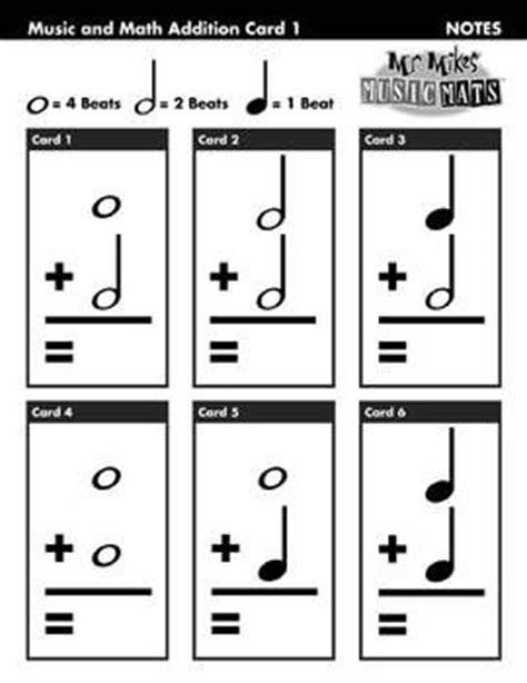 printable music note value flash cards basic note adding one sheet free music education
