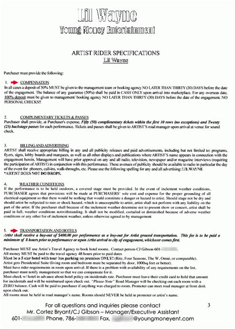 Lil Wayne Backstage Rider The Smoking Gun Rap Contract Template