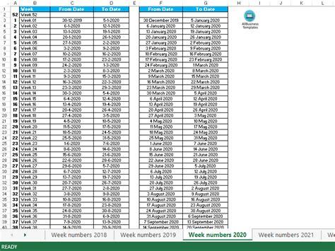 week numbers  templates  allbusinesstemplatescom