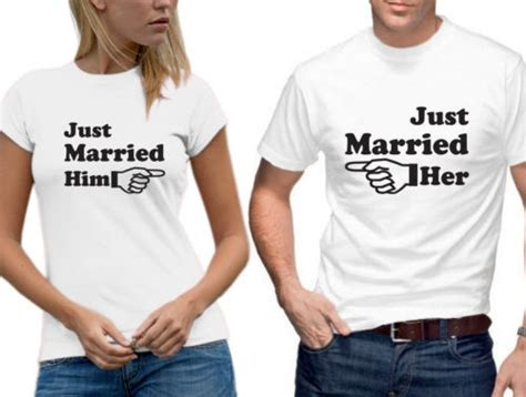 T Shirt Printing Design For Couples Just Married Him Arrow Matching T Shirt Set
