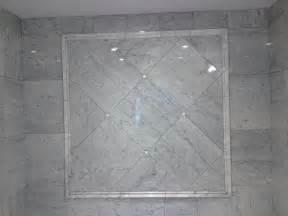 Edmonton tile install white marble bathroom river city