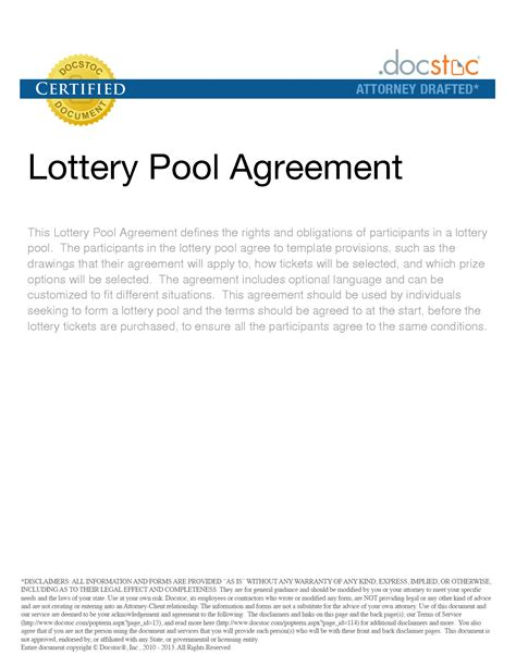 Agreement Letter For Lottery Pool 28 Lottery Pool Contract Template Lottery Agreement Form Free Printable Documents