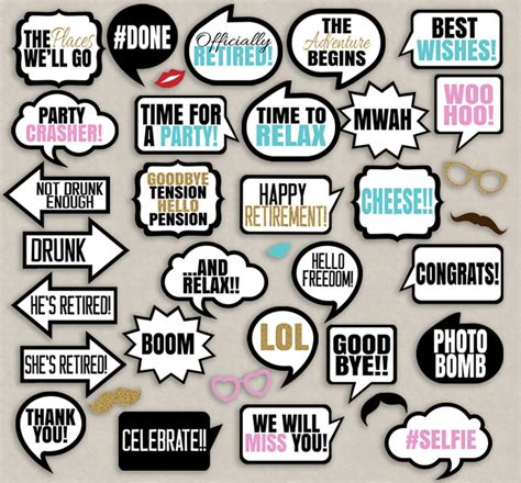 printable retirement photo booth props retirement party speech bubbles props diy photo booth