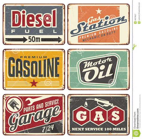 vintage car auto vehicle metal panel sign tin art wall gas stations and car service vintage tin signs stock