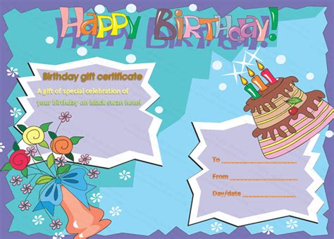 templates cards and certificates birthday gift certificate template