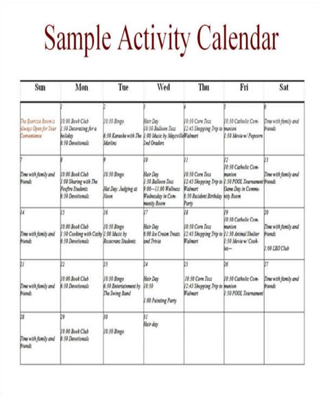 activities calendar template 10 activity calendar templates free sle exle