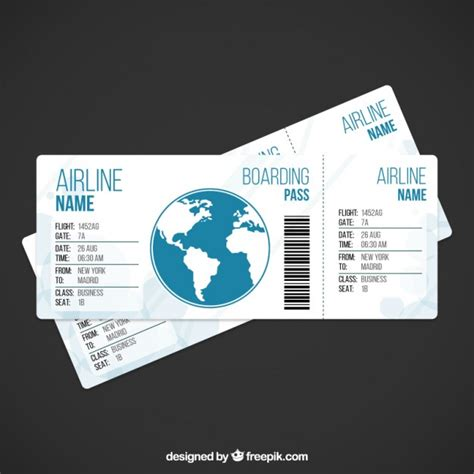 Airplane Ticket Template Vector Free Download Plane Ticket Template