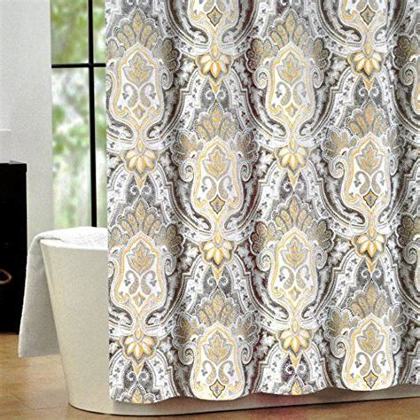 yellow paisley curtains tahari luxury cotton blend shower curtain yellow gray